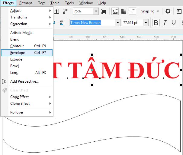 Vào Effect chọn hiệu ứng Envelope để biến đổi chữ