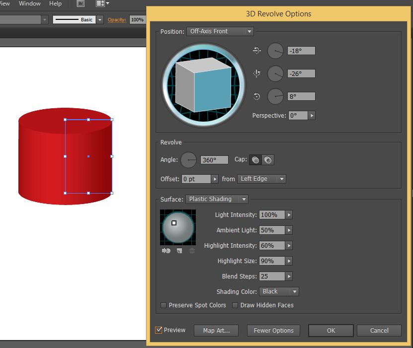 hiệu ứng 3d dạng tròn trong Illustrator