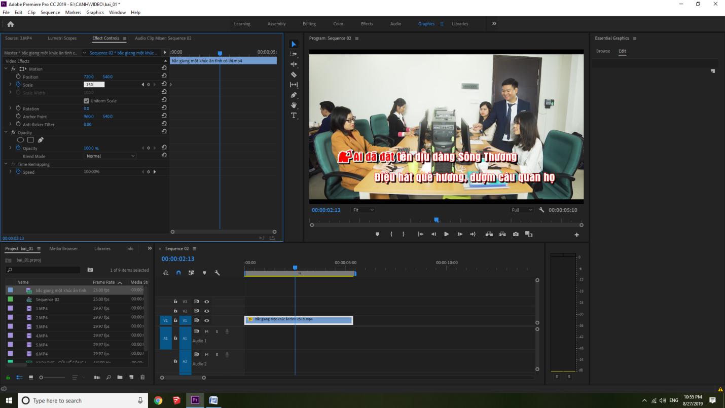 cách phóng to thu nhỏ video trong Premiere